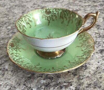 Coalport Green White Gold Trim Accented Teacup And Saucer
