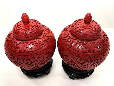 Vey Old Handmade Red Chinese Cinnabar Lacquer Small Jars / Blue Enamel Inside