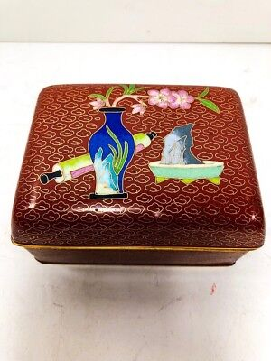 Vey Old Cloisonné Small Red Box/Multi-Color Details/Blue Enamel Inside/ Handmade