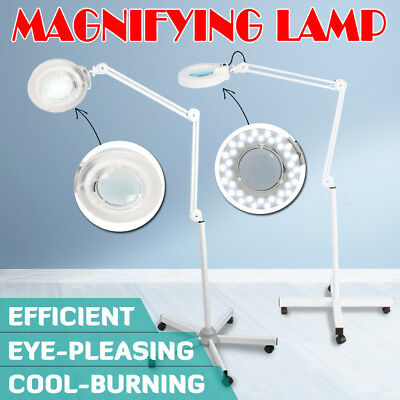 Magnifying Lamp Glass Lens 36 LEDs/T5 Fluorescents Bulbs 8xMagnifier Light Stand