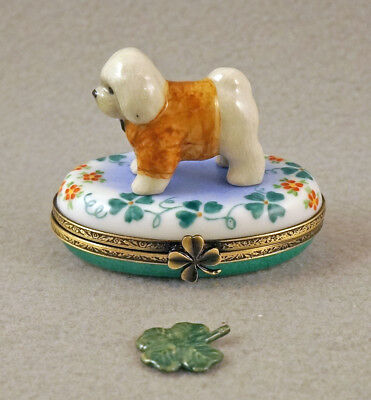 New French Limoges Box Dressed Up Bichon Frise Dog Puppy On Clover Leaves