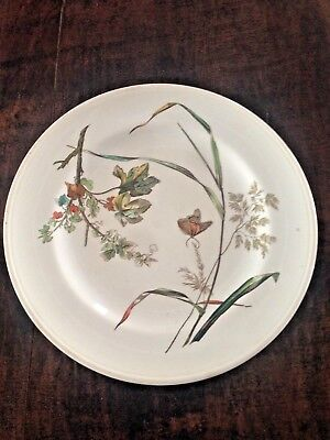 Minton Aesthetic Movement pattern dinner plate butterfly autumn leaves