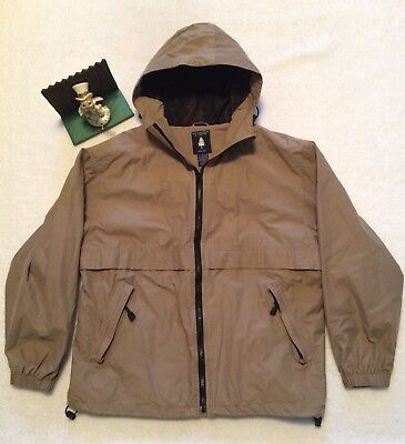 60a33666a MENS ROUNDTREE & Yorke Outdoor Light Beige Full Zip Hooded Jacket Coat Sz L  Nice