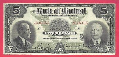 Canada 1923 Bank of Montreal  5 Dollars P-S548a