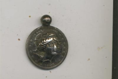 1908 USA silver coin Barber  Quarter Liberty head  punch out Watch fob Reposse