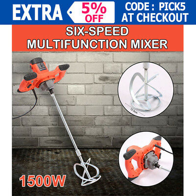 Drywall Mortar Mixer 1500W Plaster Cement Tile Adhesive Render Paint Six-speed