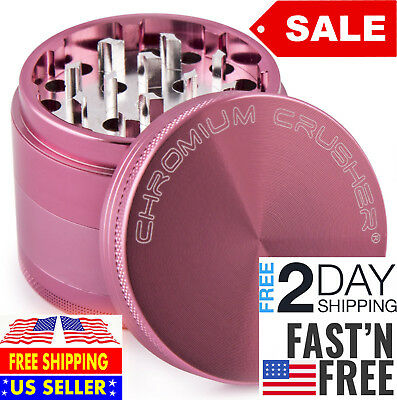 Magnetic Tobacco Grinder Aluminum Herb Spice Crusher 4 piece - Pink - Free Ship