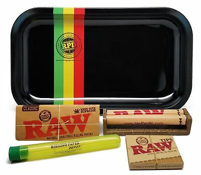 Metal Raw Rolling Tray King Size Combo Rolling Machine Authentic Raw Paper Tips