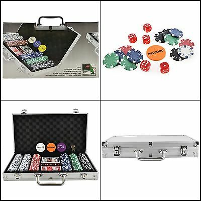 Poker Chip Set 500 Clay Aluminum Case Pro Casino Chips Texas Holdem Cards Dice..