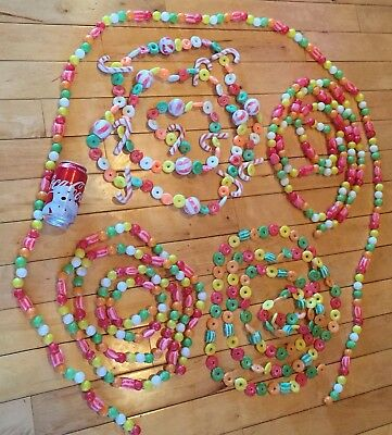 6 Vtg Plastic Christmas Tree Garland Blow Mold Peppermint Candy-cane Gumdrop 45'