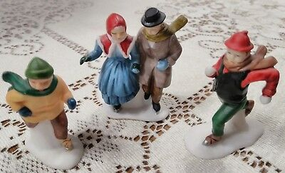 1988 Dept. 56 Dickens Village Three Ice Skaters Number 59030 RETIRED 1991
