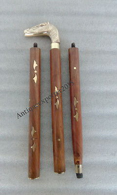 """Wooden and Brass """"HORSE'S HEAD"""" Walking Stick Design Folding Hand carved Stick"""