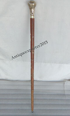 """Wooden and Brass Simple Walking Stick Beautiful Design Folding Hand carved 36""""Ca"""