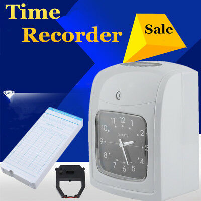 Electronic Time Clock Punch Card Machine Employee Work Hours Payroll Recorder K8