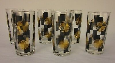 Vintage MCM Atomic Starburst Black & Gold Tumbler Glasses - Set of 6