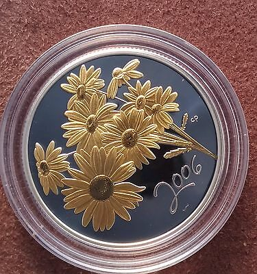 2006 Canada 50 cent coloured Golden Daisy Silver proof coin in case with coa