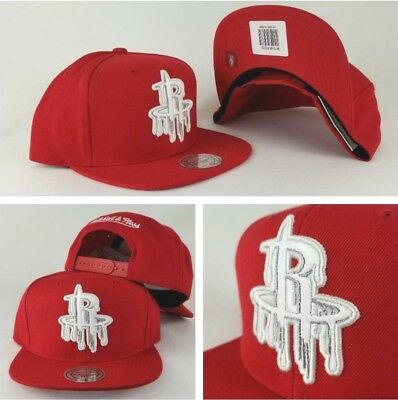 huge discount 1305c 2e0a7 Mitchell   Ness NBA Houston Rocket Red paint dripped snapback Hat Cap
