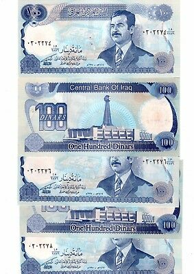 Saddam Hussan 100 dinar IRAQI banknotes. FOUR mint notes, in consecutive order