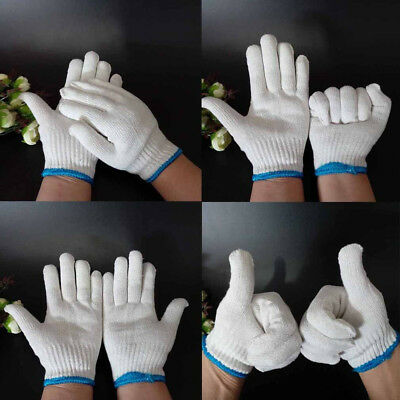 12Pairs White String Cotton Knitted Factory Labour Work Protection Gloves Tool O