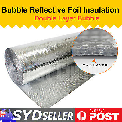 30M x 1M House Roof Wall Floor Duct Double Bubble Silver Foil Insulation Barrier