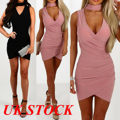 UK Women Ladies Sexy Choker Evening Party Club V Neck Mini Bodycon Dress 6-14