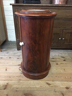 Victorian mahogany cylindrical bedside table / pot cupboard REDUCED MUST SELL
