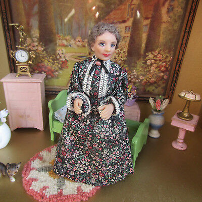 Artisan Signed GRANDMOTHER DOLL Swivel Head Victorian Dollhouse Old Lady Woman