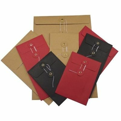 162x114 C6 A6 Red/Black/White/Manilla String & Washer Document Storage Envelopes