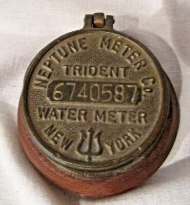 Antique Bronze Brass Neptune Trident Water Meter Cover New York , Trinket box