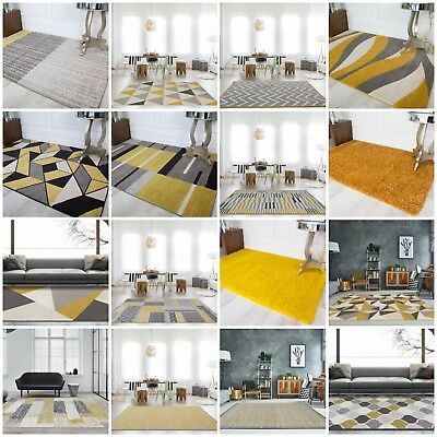 Modern Ochre Yellow Living Room Rugs Gold Mustard Geometric Moroccan Shaggy Rugs