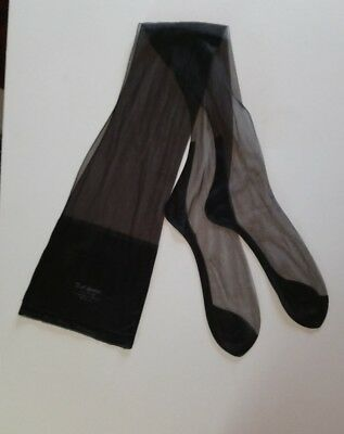 "Black Vintage Nylon Stockings 10. 5 Seamed Fully Fashioned 33. 5"" Long"