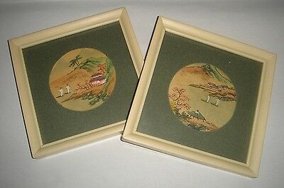 Vintage pair of framed Asian Inspired Landscape Prints White Frames 13.5x13.5cm