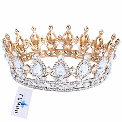 King/queen Crown Stone Sapphire Tiaras Gold Plated Hair Jewelry Accessories NEW