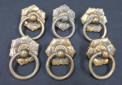 Architectural Salvage Brass Round Flower Pull Handles With Rings Set of 6