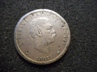 1883 Hawaii Silver 25 Cent Coin Free Shipping