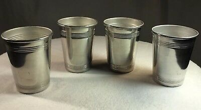 Vintage Platt Aluminum Cups Lot/4 Replacement For Travel Case Barware