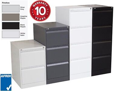 GO Vertical Filing Cabinet 2 3 4 Drawer Lockable 4 Colours ASSEMBLED + Acc PU