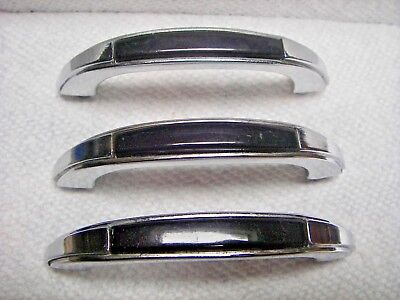 NOS (3) Vintage Stanley Chrome and Black Kitchen Cabinet Drawer Handles Pulls