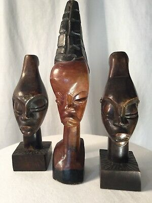 Vintage HAND-CARVED WOODEN AFRICAN HEADS TRIBAL Lot of 3