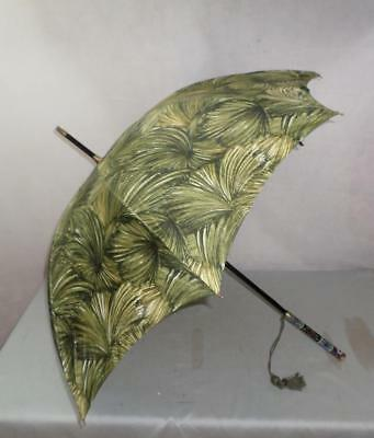 Vintage Umbrella- Green Foliage Canopy & Colourful Cloisonné Handle- Gold Plated