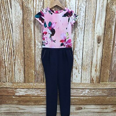 BAKER TED BAKER Pink Navy Floral Jumpsuit Occasion Size UK Age 13 Years 47472