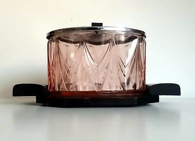 French Art Deco Pressed Glass Biscuit Box on Tray Tableware