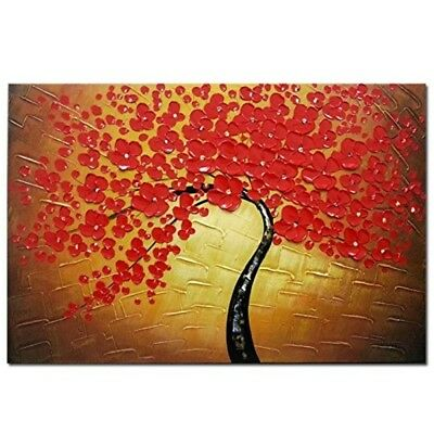 Wieco Art - Red Flowers Modern Stretched and Framed Floral 100% Hand Painted Oil