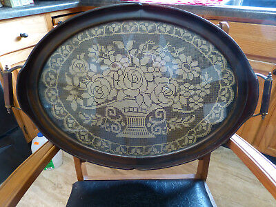 """Vintage Vanity/Serving Tray Wood Frame Glass Lace/Doily - 24-3/4"""" x 16"""" Oval"""