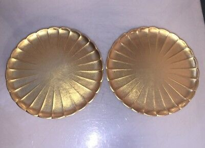 2- Vintage Japanese natural wooden Tea plates Takahashi Gold Lacquer Ware shell