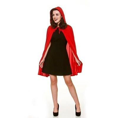Adult Female Red Hooded Cape Fancy Dress Party