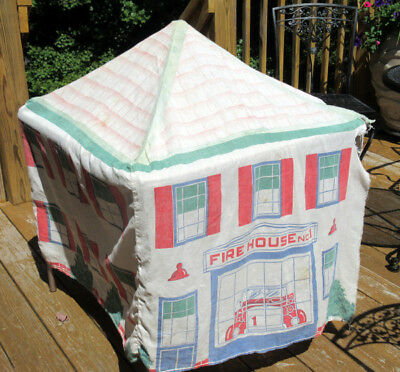 RARE Vintage Bemis Bag 1940 /50's Cloth Child's Play FireHouse/ Station Tent
