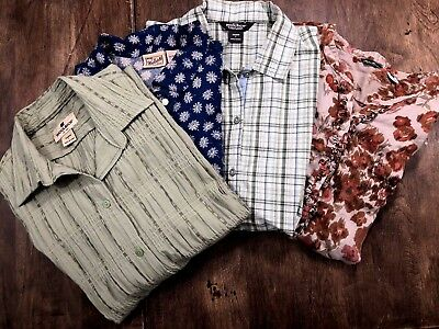 LOT OF 4 Womens Shirts Large L Woolrich Eddie Bauer Short Long Sleeve Casual ***