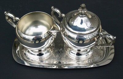 Rogers SILVER CO. Elegant Silver Plated Creamer, Sugar Bowl With Cover and Tray