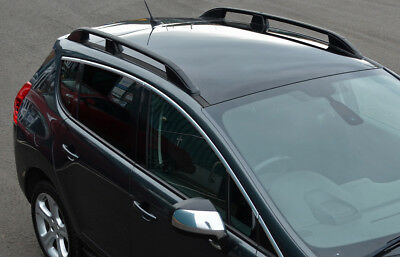Black Aluminium Roof Rack Rails Side Bars Set To Fit Peugeot 3008 (2008-16)